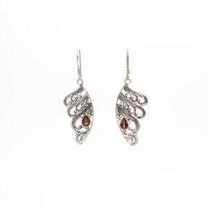 garnet wings earrings