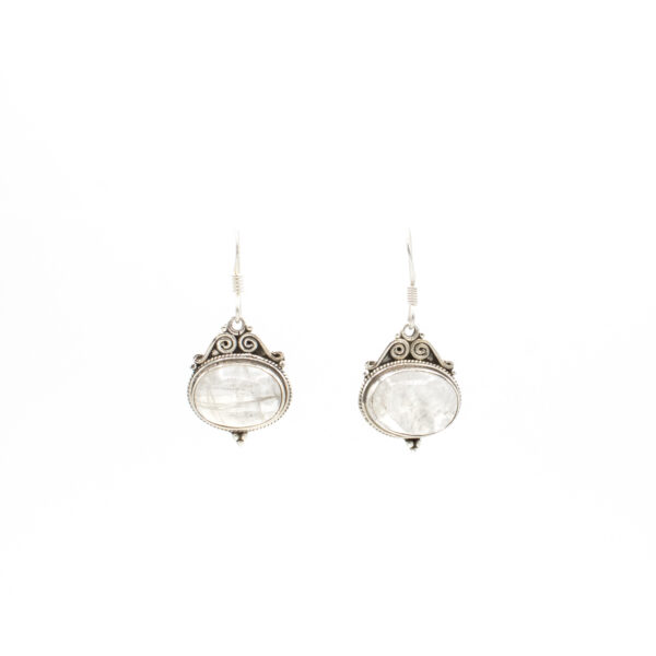 ornate rainbow moonstone earrings